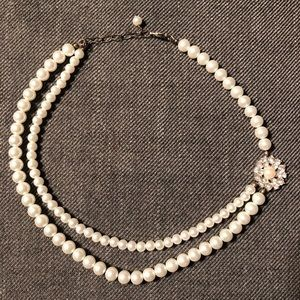 """18"""" Pearl Necklace with Embellishment"""